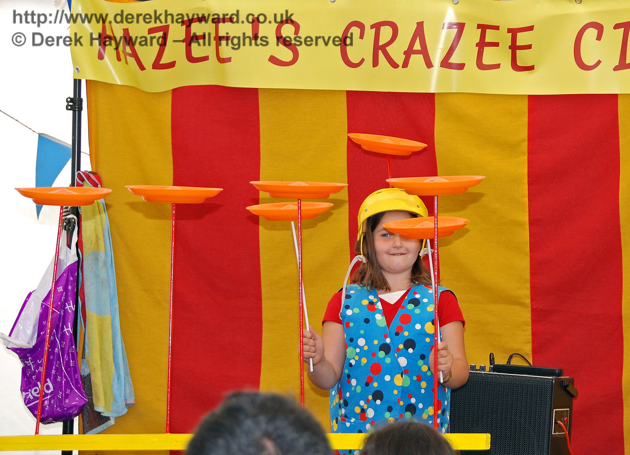 Wow!! Now there is a plate spinning on the top of my helmet too!! Hazee's Crazee Circus. Family Fun Weekend Horsted Keynes 29.06.2008