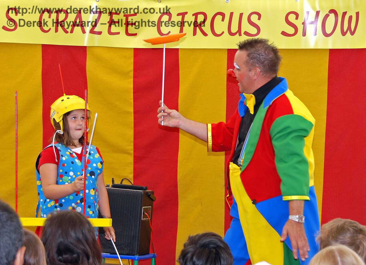 Now hold this spinning plate and try to keep it going... Hazee's Crazee Circus. Family Fun Weekend Horsted Keynes 29.06.2008