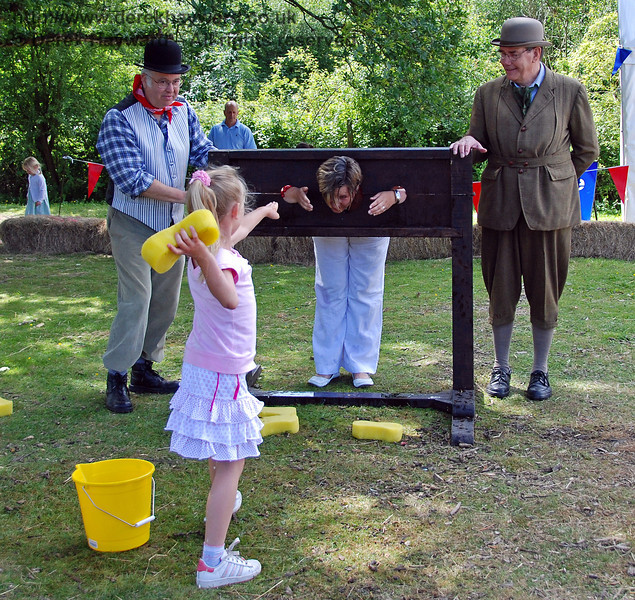 No mercy was shown to ladies held in the stocks. Family Fun Weekend Horsted Keynes 29.06.2008