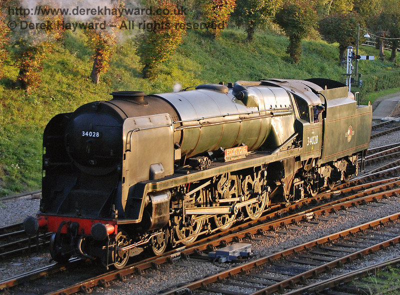 The low sun catches 34028 Eddystone as it prepares for the Bulleid line up at Horsted Keynes. 19.10.2007