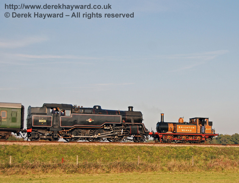 Stepney and 80151 on Freshfield Bank en route to Sheffield Park. 21.10.2007