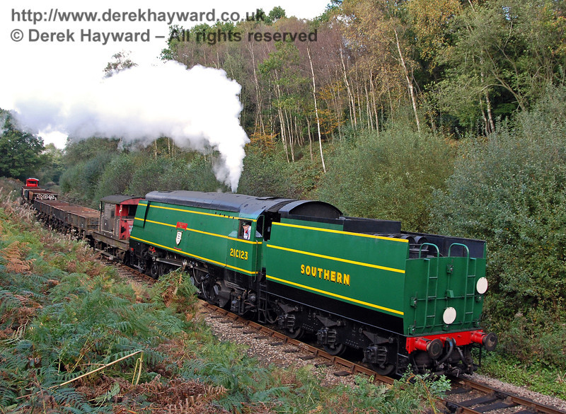 21C123 OVS Bulleid hauls the goods train south through Lindfield Wood. 19.10.2007
