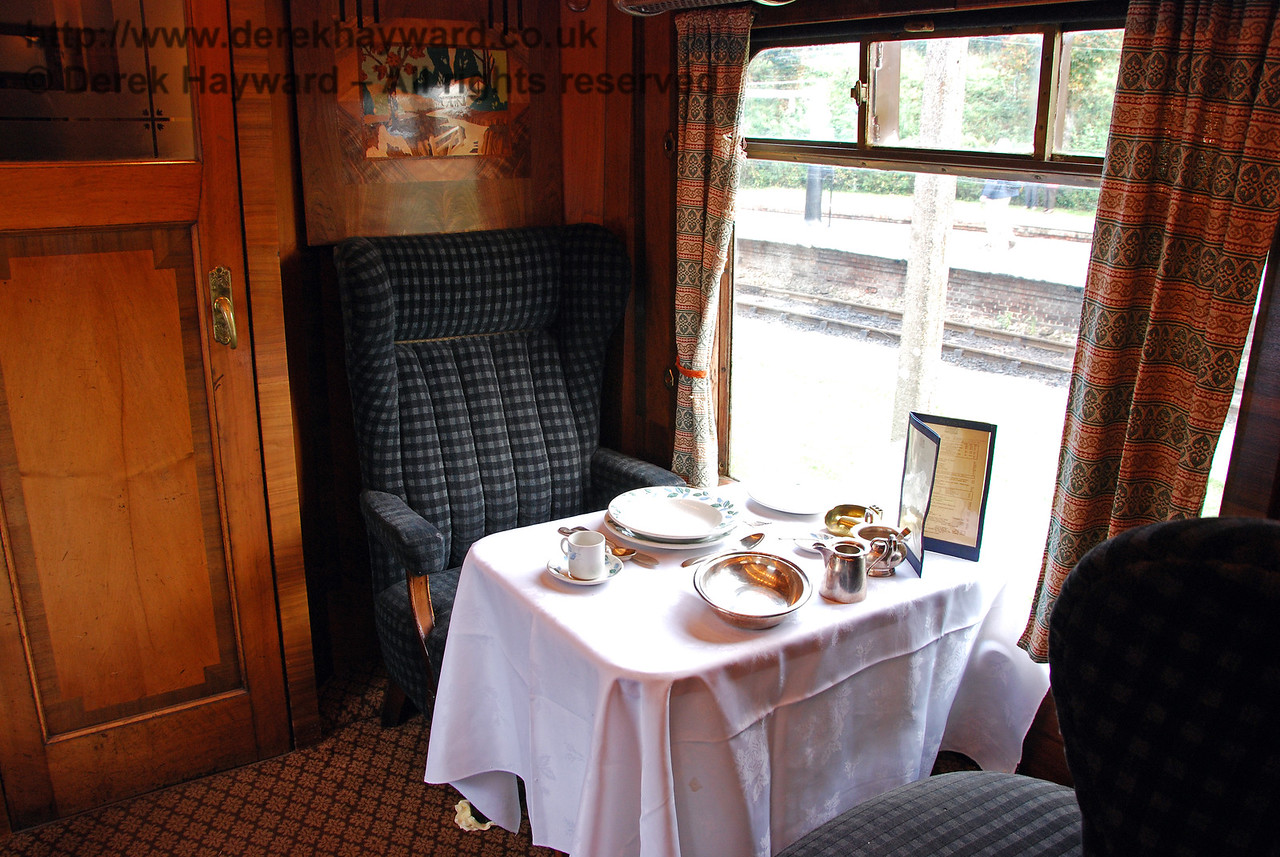 A table is laid for demonstration purposes inside Pullman Car Doris. Horsted Keynes 20.10.2007