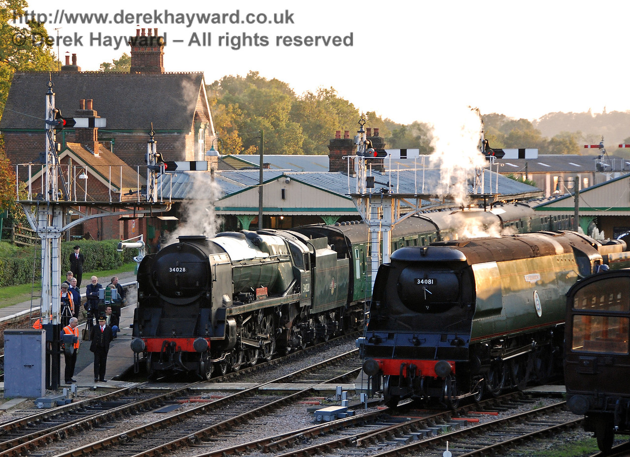 34028 Eddystone and 34081 92 Squadron prepare for the Bulleid line-up. Horsted Keynes 19.10.2007