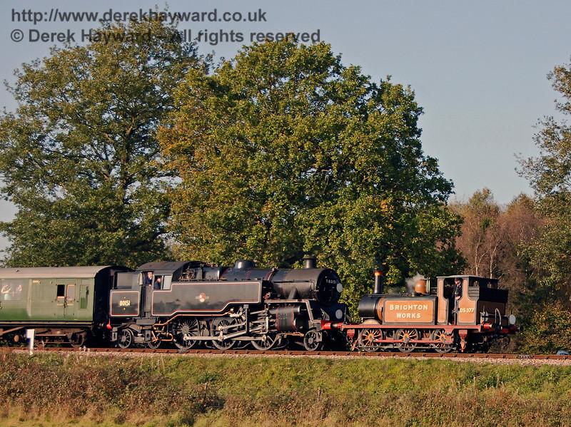 Stepney, running as the Brighton Works shunter, and 80151 steam down Freshfield Bank. 21.10.2007