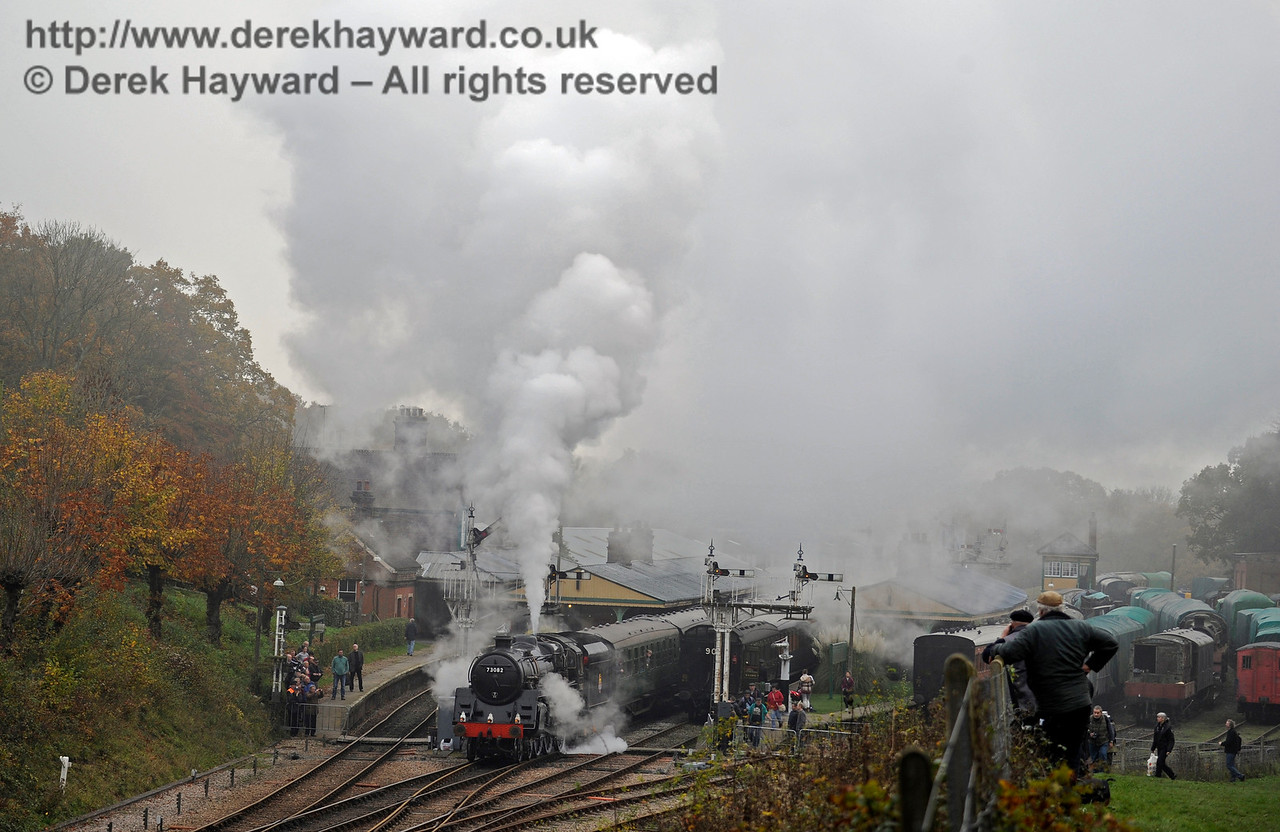 Hands up anyone who didn't think that it was foggy...  73082 Camelot prepares to leave  Horsted Keynes.  01.11.2015  12477