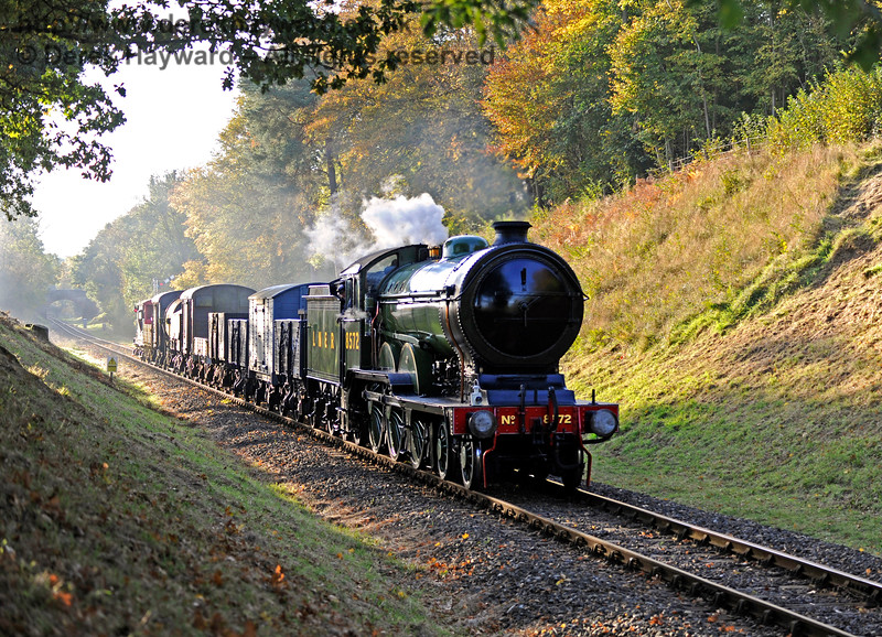 8572 ambles through Mill Place Cutting with the early morning goods train.   28.10.2016 14295