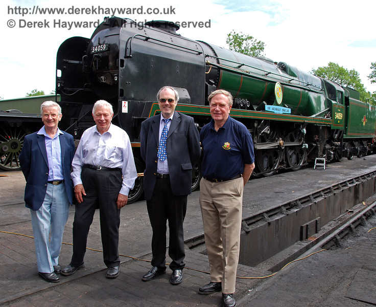 The four original students who thought up the idea of the Bluebell Railway in 1959 pose in front of Bluebell's newest operational engine, 34059 Sir Archibald Sinclair. (Left to right) The late Martin Eastland, Alan Sturt, Chris Campbell and David Dallimore. Sheffield Park 17.06.2009