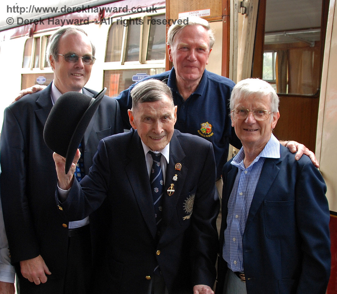 BRPS President, Bernard Holden MBE, raises his bowler in salute as he poses with (left to right) Chris Campbell, David Dallimore, and the late Martin Eastland. Sheffield Park 17.06.2009