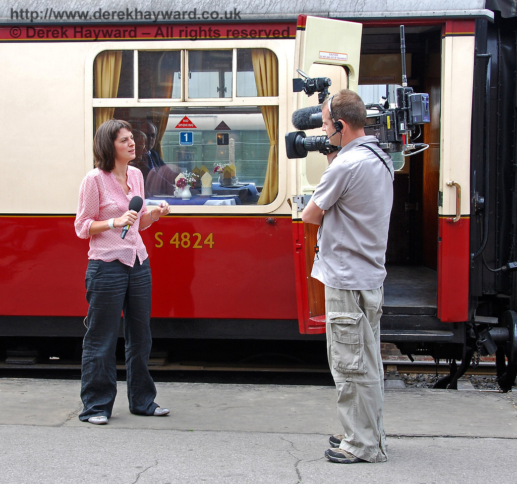 BBC South East News were recording and presenting live broadcasts throughout the day. Presenter Bryony Mansfield does a live piece for the lunchtime news, before entering the Lounge Car to interview the founder members on the news. Sheffield Park 17.06.2009