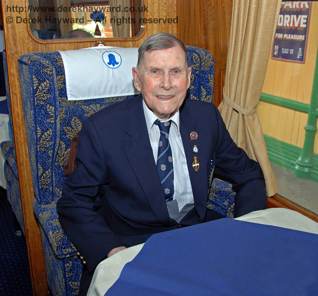 BRPS President, Bernard Holden MBE, pictured in the Lounge Car. Horsted Keynes 17.06.2009