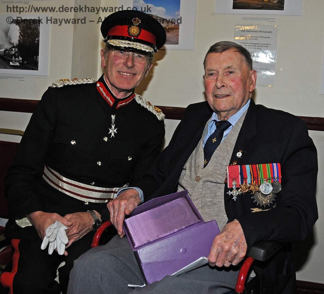 Her Majesty's Lord Lieutenant for East Sussex, Mr Peter Field, poses with Mr Bernard Holden, MBE, President BRPS. Sheffield Park 16.09.2010