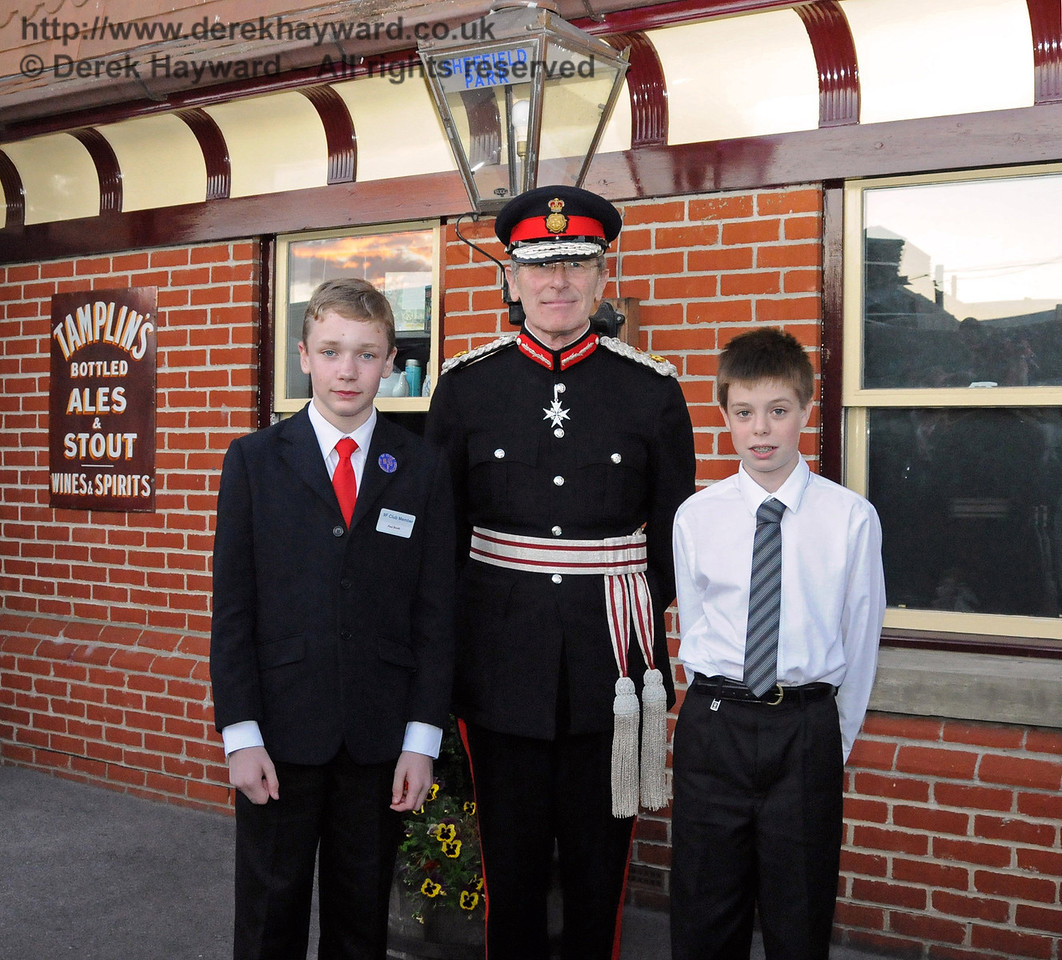 Her Majesty's Lord Lieutenant for East Sussex, Mr Peter Field, poses with Paul Booth and Lewis Backus, representatives of the 9F club, symbolising the future of the railway. Sheffield Park 16.09.2010