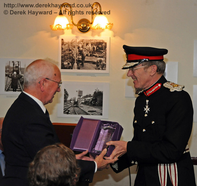 Her Majesty's Lord Lieutenant for East Sussex, Mr Peter Field, presents the Queens Award for Voluntary Service to Mr Charles Hudson, MBE. Sheffield Park 16.09.2010
