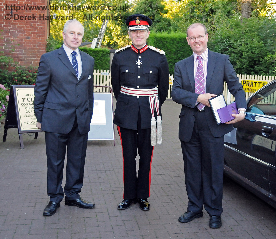 Roy Watts, Chairman BRPS, greets Her Majesty's Lord Lieutenant for East Sussex, Mr Peter Field, and Roger French, OBE, Deputy Lieutenant. Sheffield Park 16.09.2010