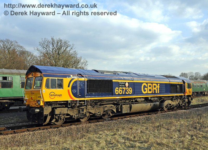 66739 shunts at Horsted Keynes during it's first movement after naming.  28.03.2013  6467