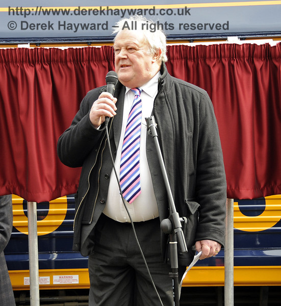 John Farrow, Managing Director, UK Rail Tours, addresses the audience.  Horsted Keynes 28.03.2013  6351