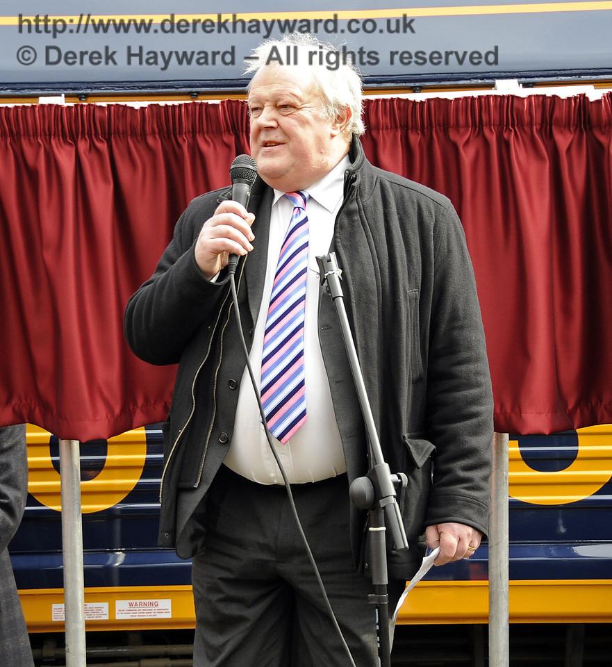 John Farrow, Managing Director, UK Rail Tours, addresses the audience.  Horsted Keynes 28.03.2013  6351