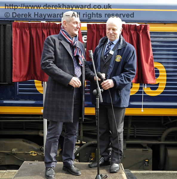 Roy Watts, Chairman BRPS, introduces Chris White to the audience.  Horsted Keynes 28.03.2013  6356
