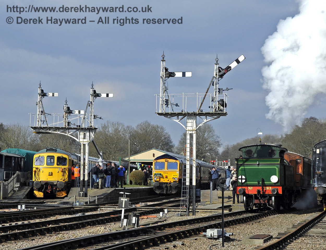The departure of a steam hauled service interrupts the diesel gala at Horsted Keynes. 28.03.2013  6442