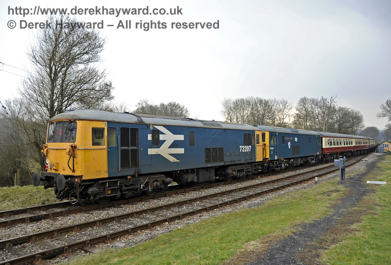 """Two Class 73 locomotives, 73207 and 73119 """"Borough of Eastleigh"""", bring up the rear of the train, one of which was GBRf's only dual braked (vacuum braked) Class 73.  28.03.2013  6313"""