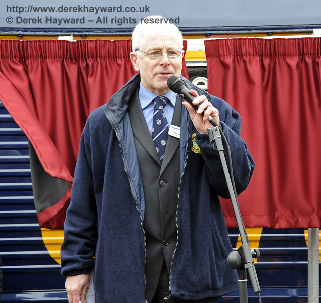 Roy Watts, Chairman, BRPS, addresses those gathered for the naming ceremony.  Horsted Keynes 28.03.2013  6340