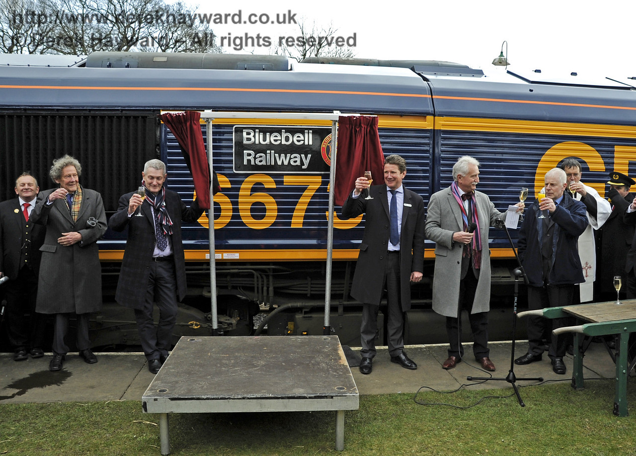 The assembled guests toast the locomotive.  Horsted Keynes 28.03.2013  6379