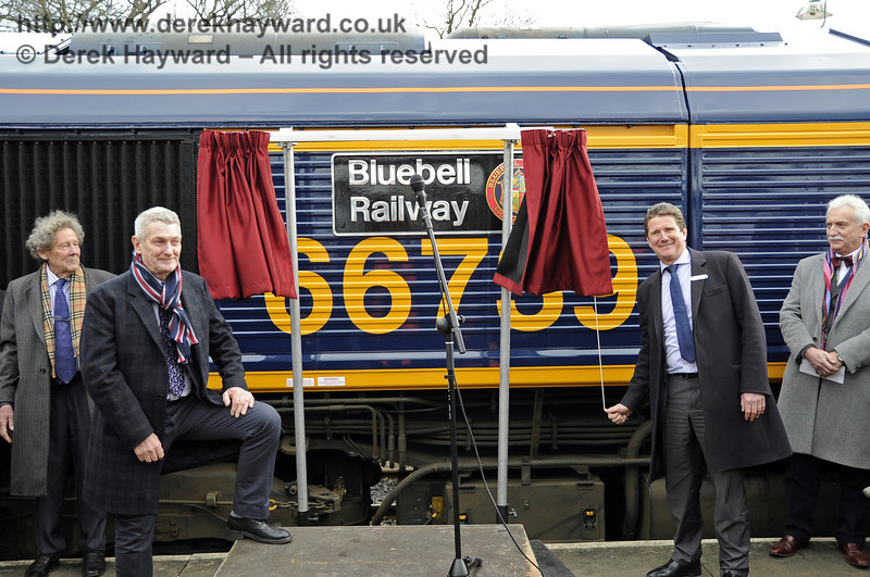 John Smith, Managing Director GBRf, unveils the locomotive name, watched by Gordon Pettitt, Chris White and Graham Flight.  Horsted Keynes 28.03.2013  6365