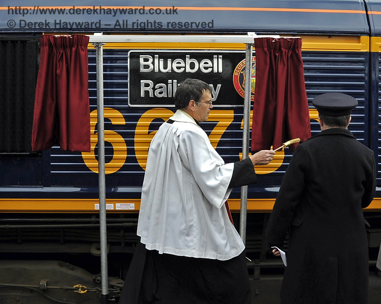 Father John Twistleton, Bluebell Railway Chaplain, held a short ceremony and then blessed the locomotive.  Horsted Keynes 28.03.2013  6386