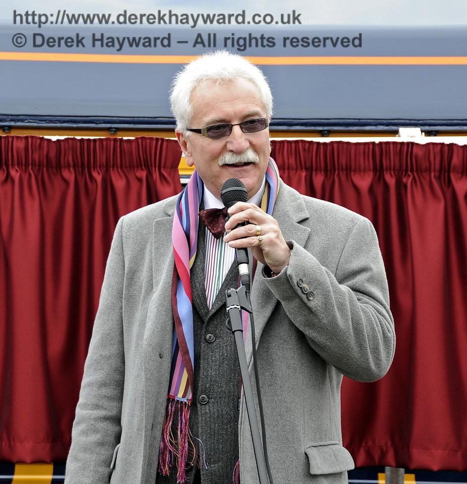 Graham Flight, Chairman, Bluebell Railway PLC, addresses those gathered for the naming ceremony.  Horsted Keynes 28.03.2013  6333