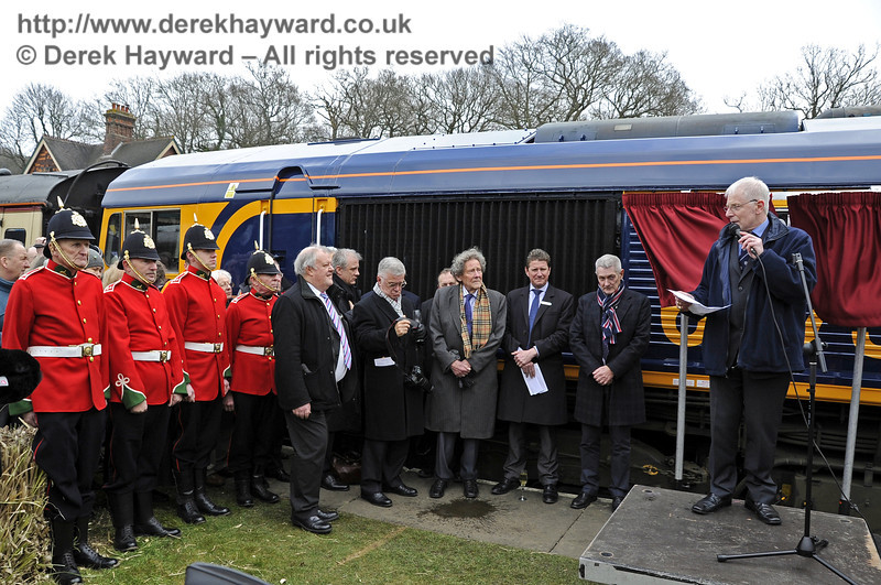 Roy Watts, Chairman BRPS, addresses the assembled guests.  Horsted Keynes 28.03.2013  6346