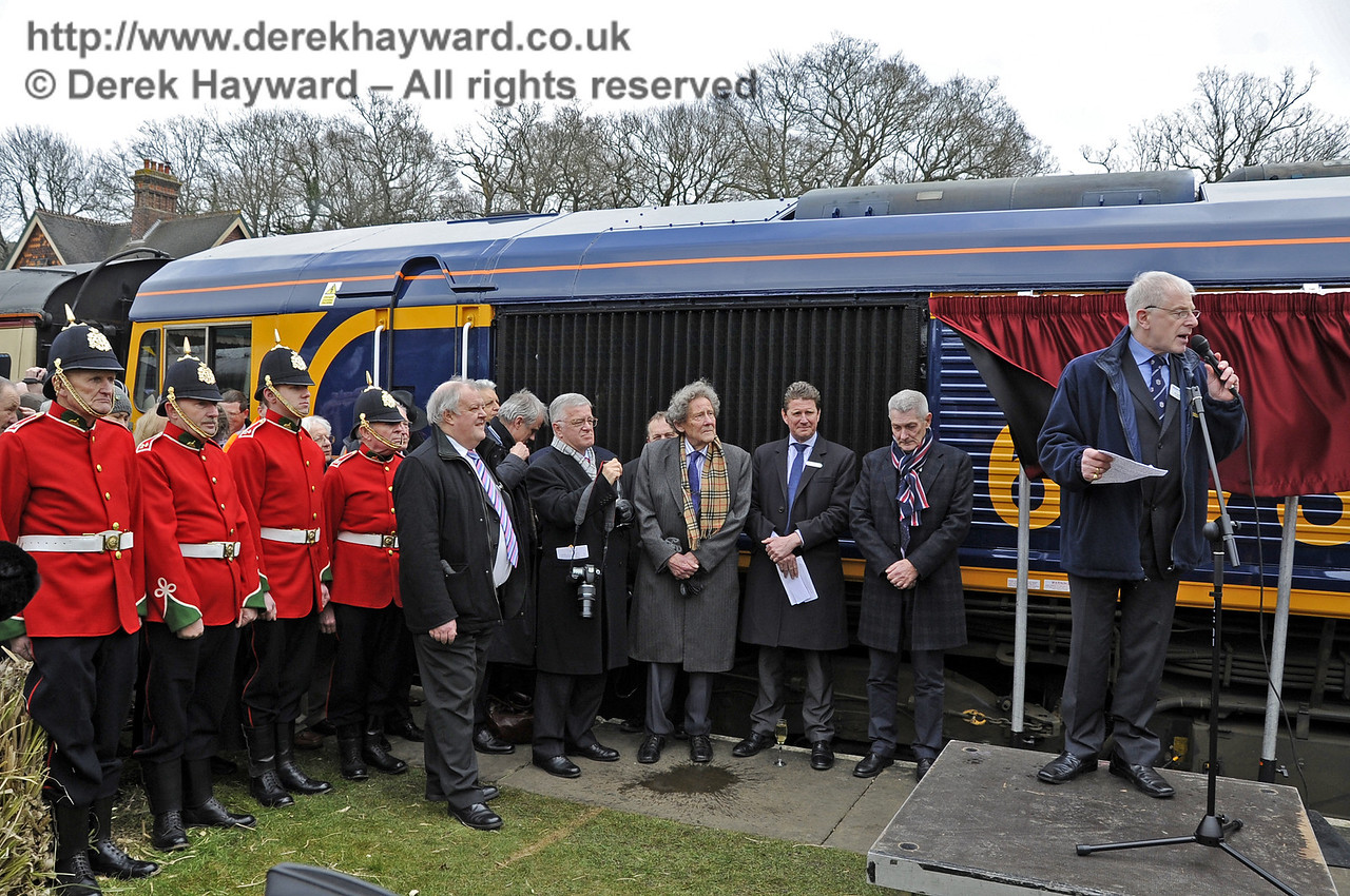 Roy Watts, Chairman BRPS, addresses the assembled guests.  Horsted Keynes 28.03.2013  6344