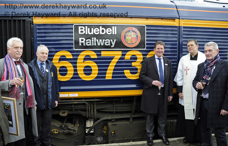 Guests pose with the newly named engine. Horsted Keynes 28.03.2013  6404