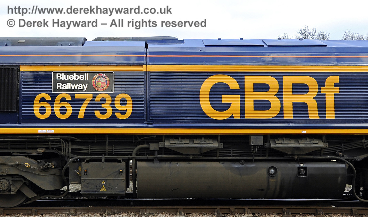 A close up of the nameplate on the side of 66739 at Horsted Keynes.  The locomotive was turned out in immaculate condition.  28.03.2013  6476