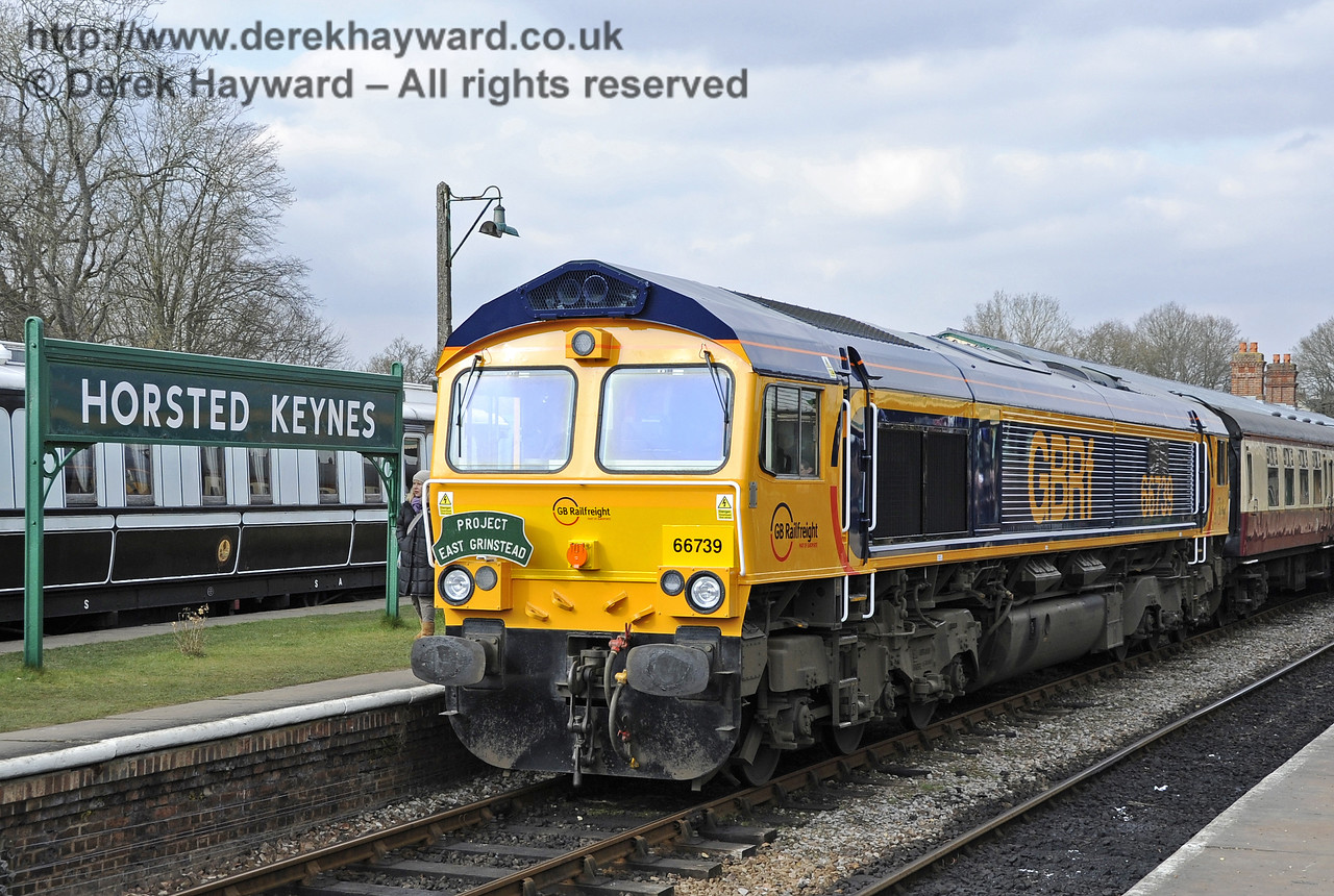 """Newly named locomotive, 66739 """"Bluebell Railway"""" stands at Horsted Keynes.  28.03.2013 6446"""
