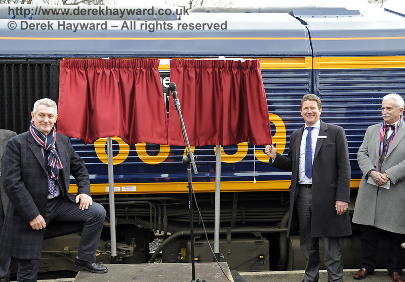 John Smith, Managing Director GBRf, prepares to unveil the locomotive name, watched by Chris White and Graham Flight.  Horsted Keynes 28.03.2013  6365