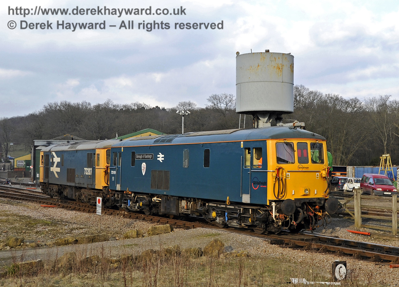 "The two Class 73 Electro-Diesels,73207 and 73119 ""Borough of Eastleigh"",  shunt at Horsted Keynes.  28.03.2013  6478"