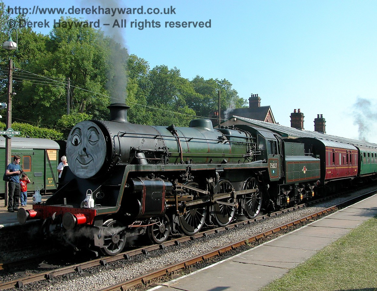 75027 waits at Horsted Keynes for Thomas to come and help him pull the train 24.06.2006
