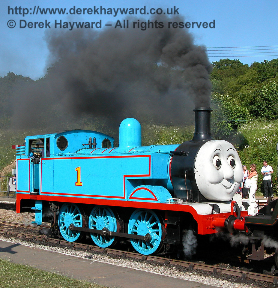 Thomas was going to pull a big train so he got very excited and blew lots of smoke.  Horsted Keynes 24.06.2006.