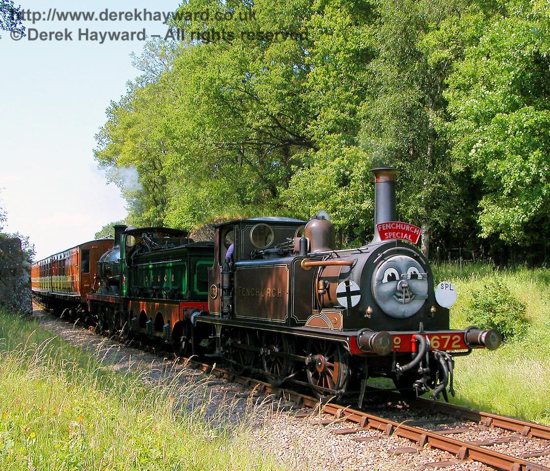 Fenchurch and 65 steam south through the ruined bridge near Freshfield 24.06.2006