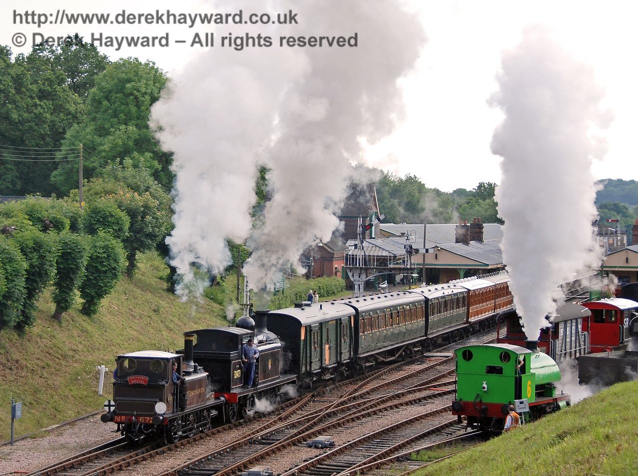 All the engines whistle as Fenchurch, 32473 and Percy start their race away from Horsted Keynes 23.06.2007