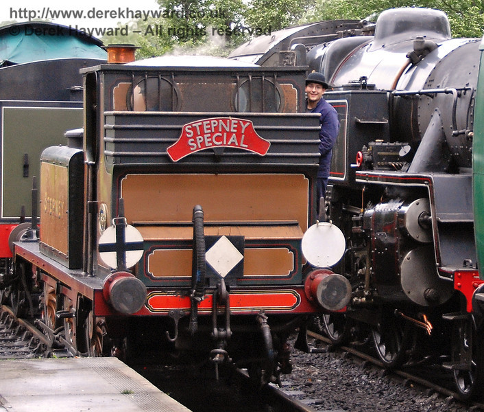 Well the hat is certainly different!  A member of Stepney's crew smiles for the camera at Sheffield Park. 01.07.2007