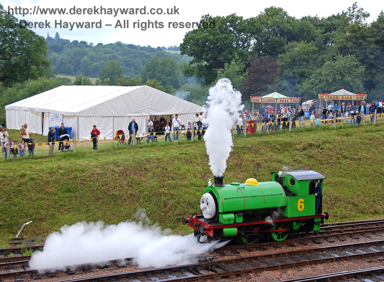Percy lets off steam because he does not want to shunt Scruffy. Horsted Keynes 23.06.2007