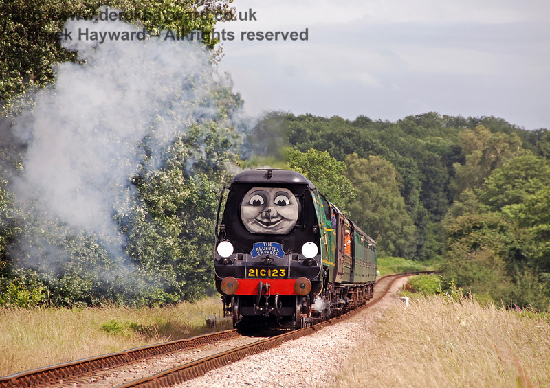 21C123 smiles for the camera as he climbs Freshfield Bank with the Bluebell Express. 01.07.2007