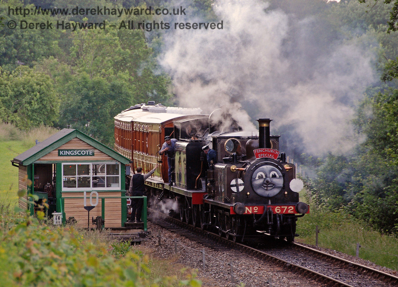 Fenchurch and 32473 say goodbye to the signalman as the Fenchurch Special leaves Kingscote. 23.06.2007