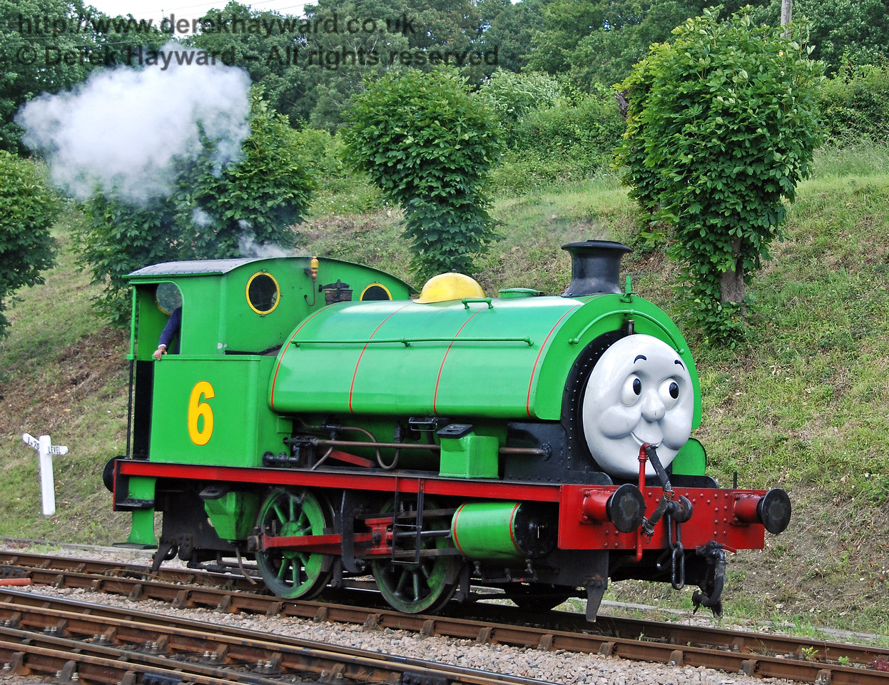 Percy puffs towards Horsted Keynes after shunting the Troublesome Trucks. 01.07.2007