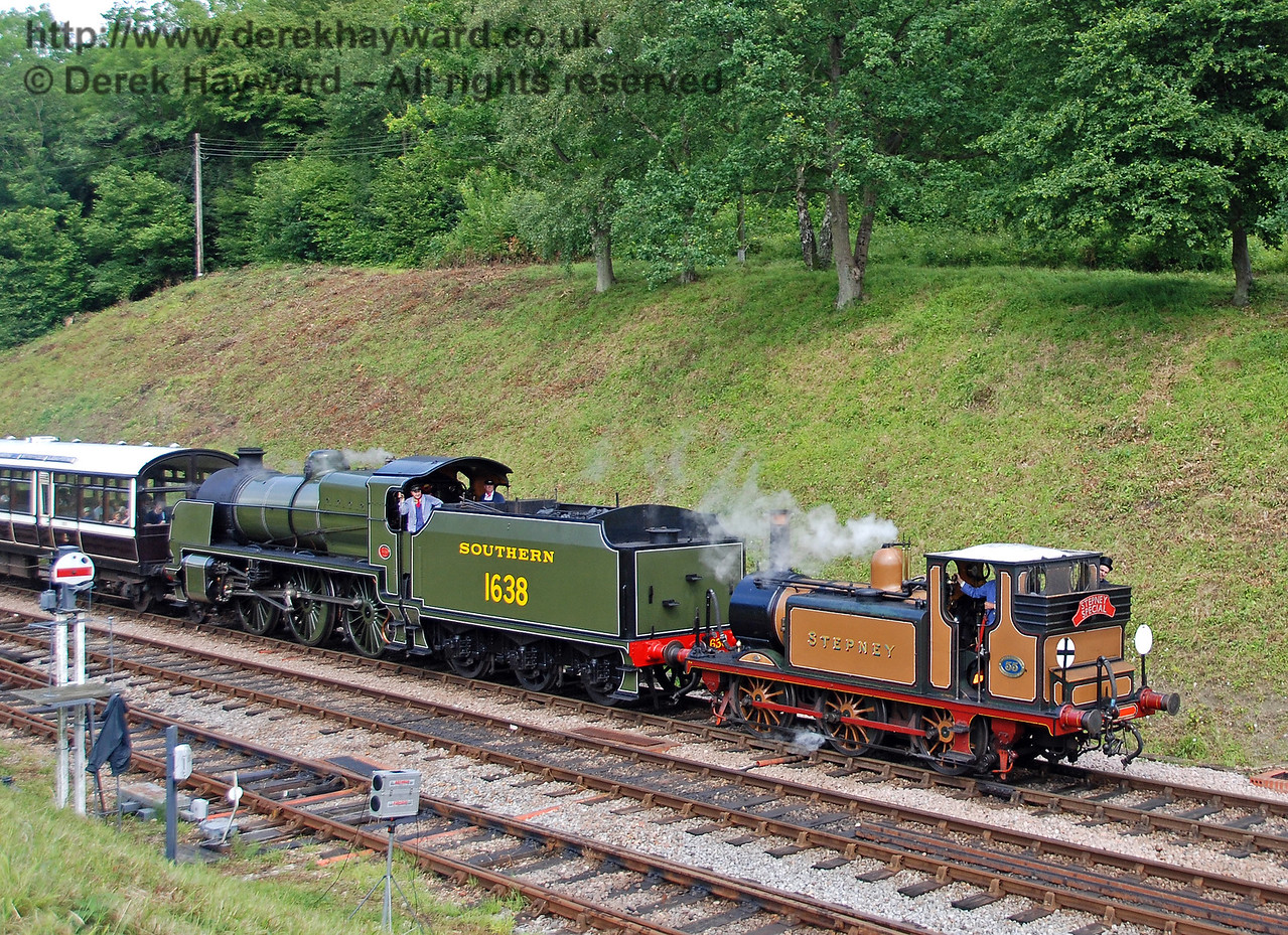 Stepney and 1638 arrive at Horsted Keynes with the Stepney Special. 23.06.2007