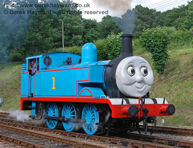 Thomas smiles for the crowd as he steams towards Horsted Keynes 01.07.2007