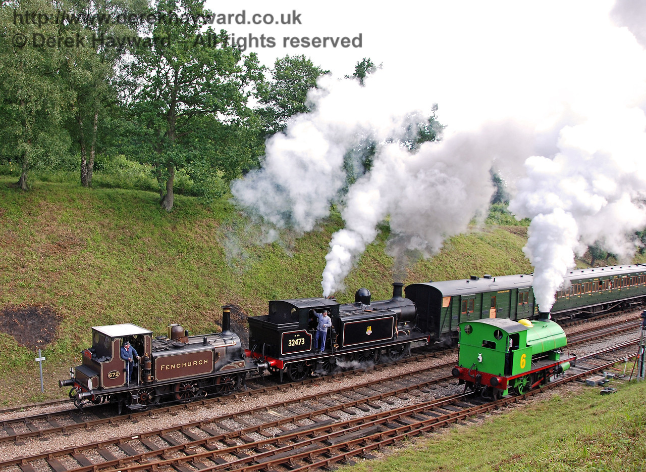 A bit further out of the station and Fenchurch and 32473 manage to go quicker than Percy.  He beat them the next time! Horsted Keynes 23.06.2007