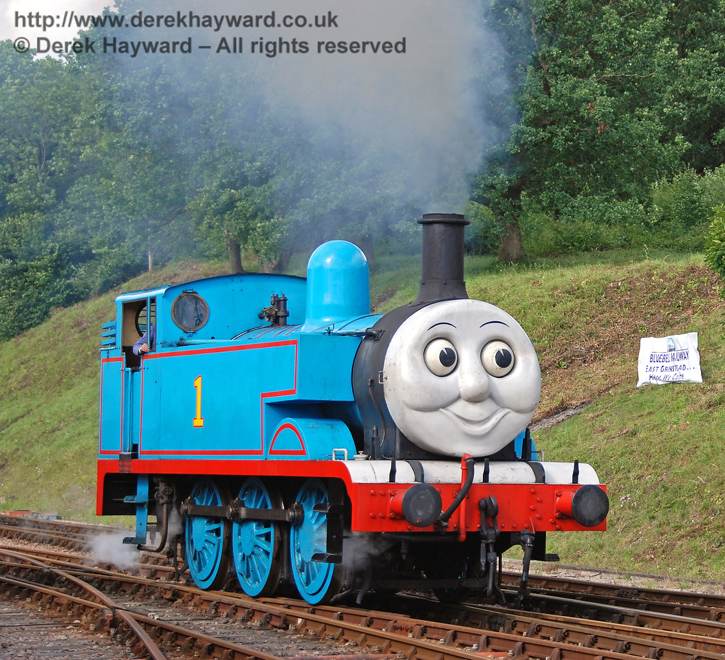 Thomas steams past the banner saying East Grinstead, Here We Come. Horsted Keynes 01.07.2007